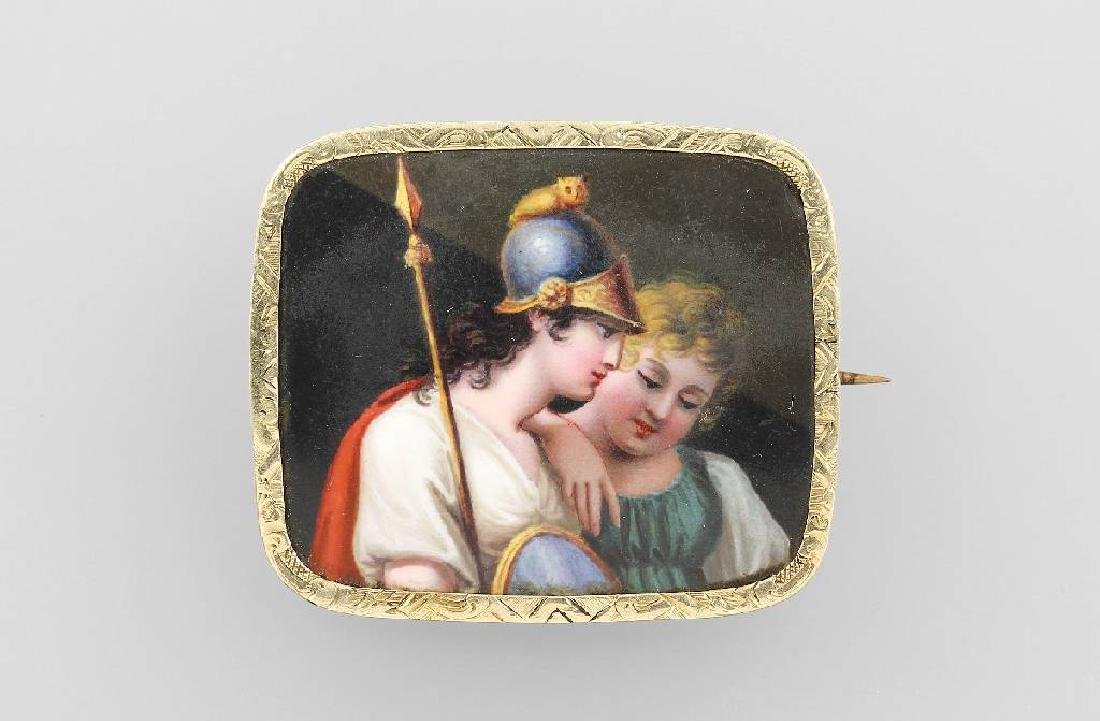 Brooch with enamel painting, german approx. 1835/40