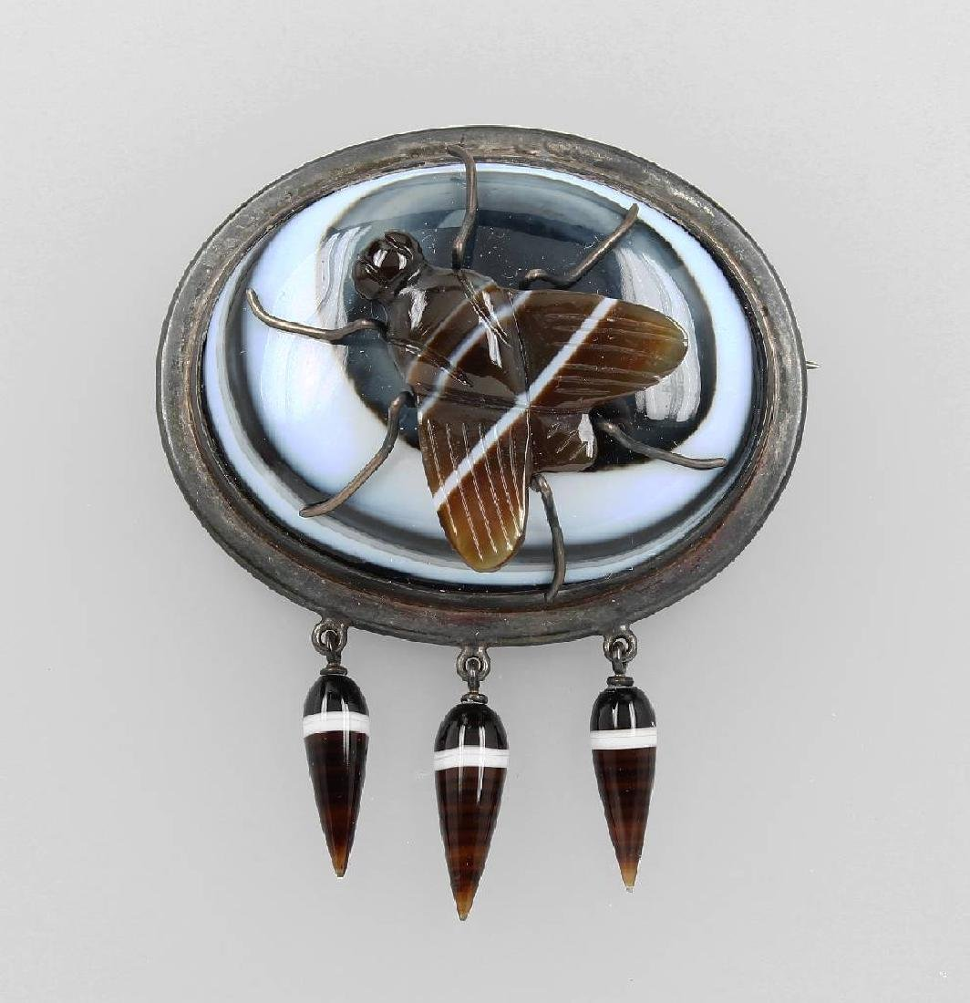 Brooch 'bug'with agate, Idar-Oberstein approx.1870/80s