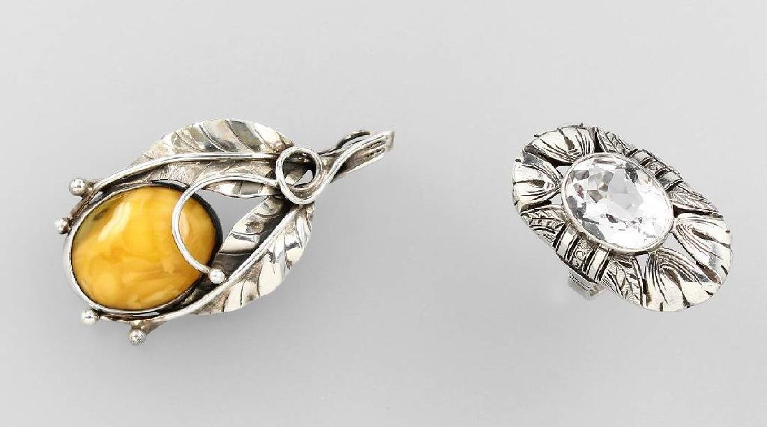 Lot ring and brooch, silver, approx. 1920/30