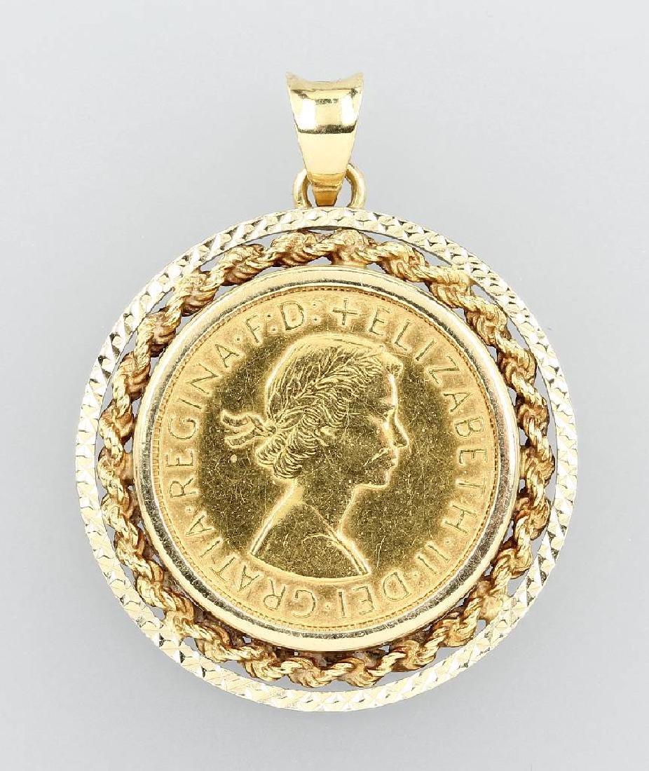 Coin pendant Sovereign Elizabeth II. 1958