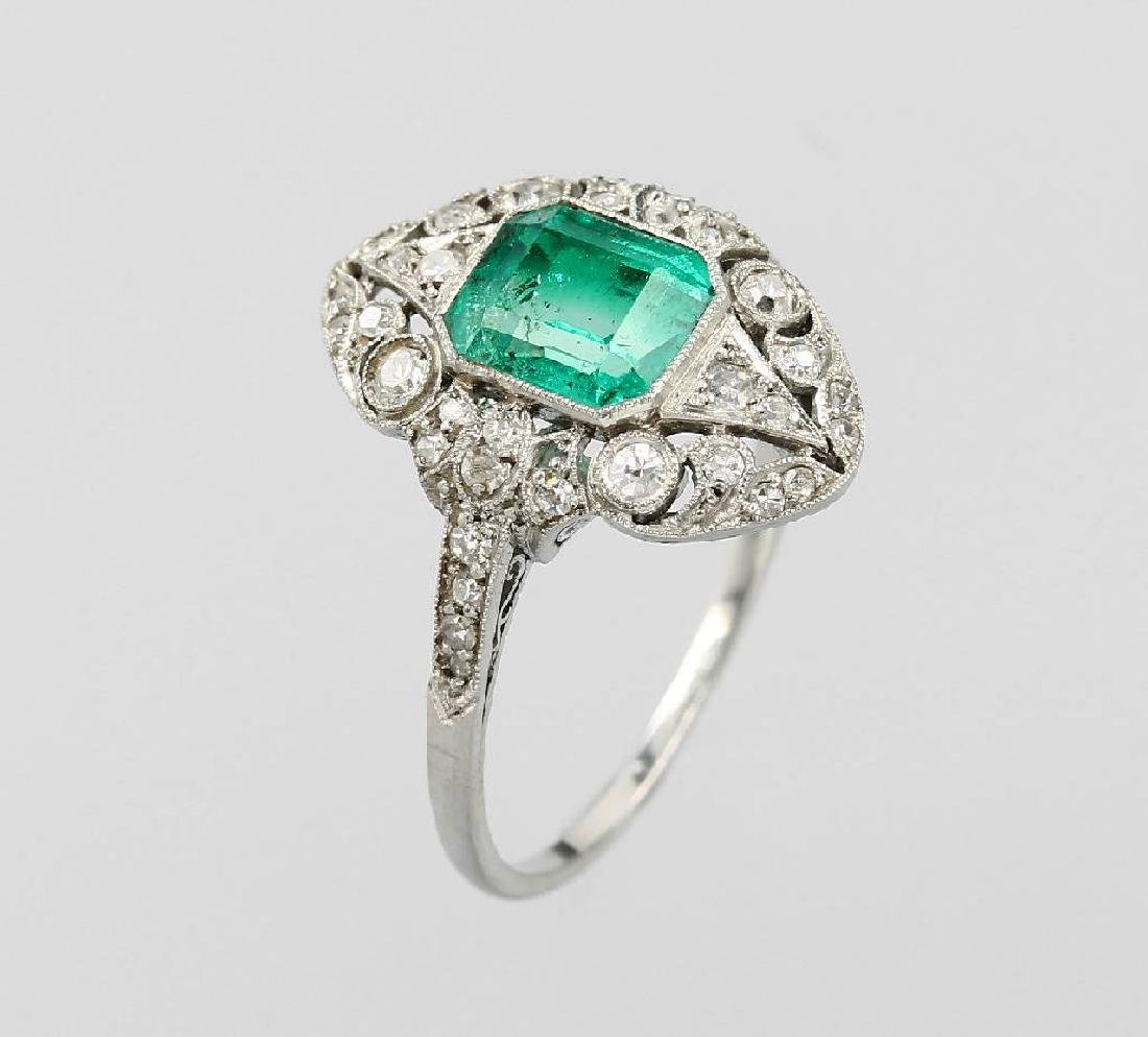Platinum Art-Deco ring with synth. emerald and diamonds