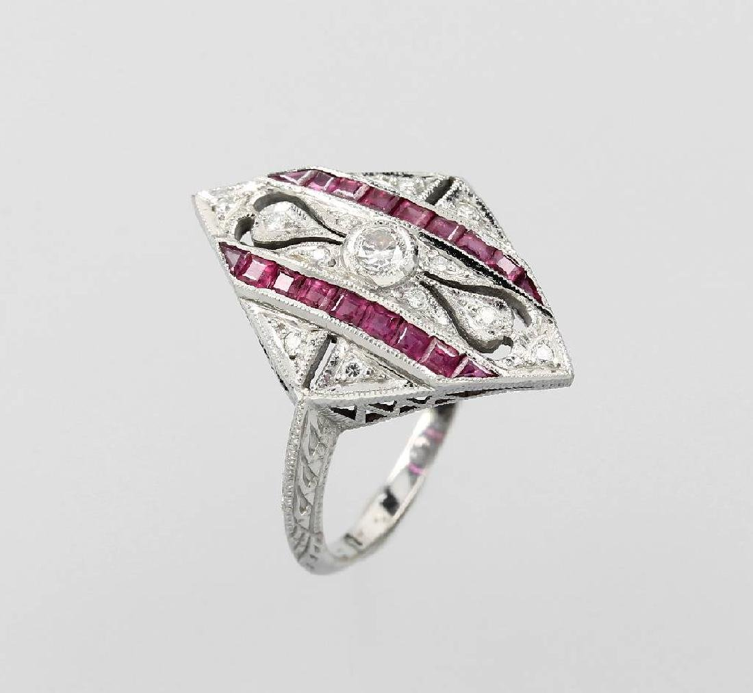 14 kt gold Art-Deco-Ring with diamonds and rubies