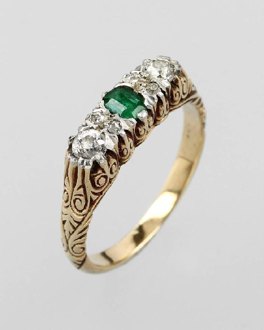 Ring with diamonds and emerald, german approx.1910s
