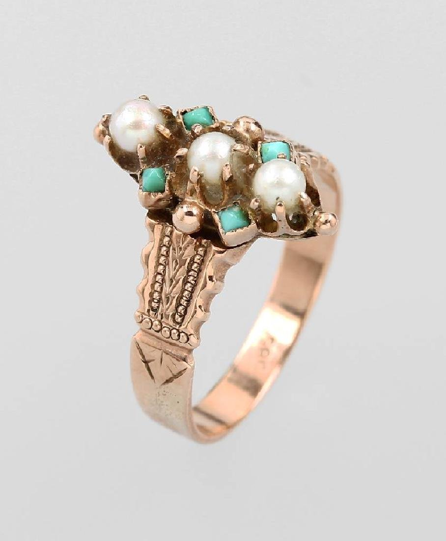 14 kt gold ring with pearls and turquoises