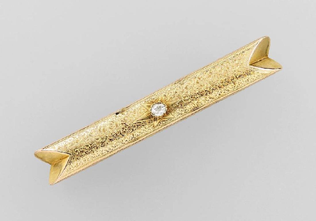 14 kt gold brooch with diamond, german approx.1880
