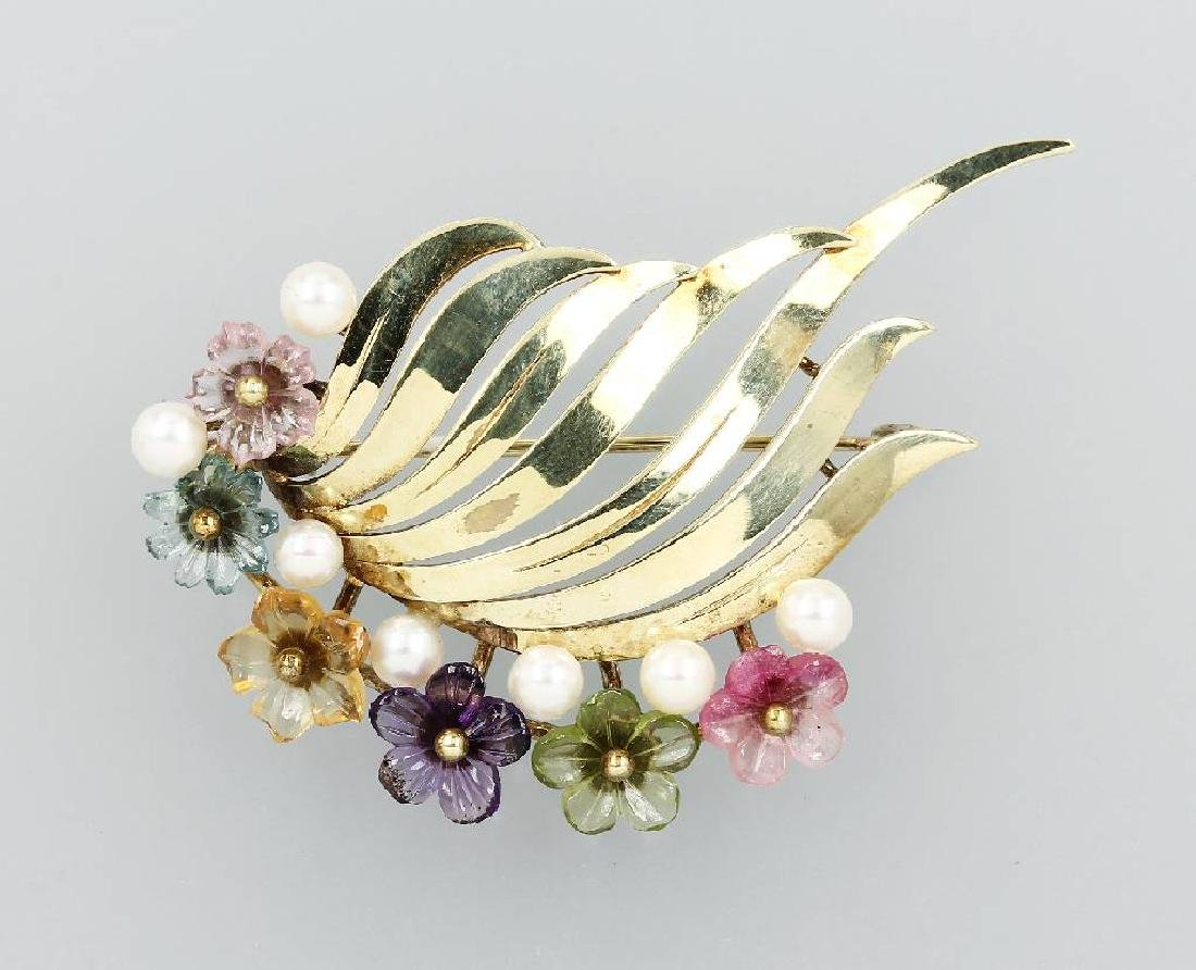 14 kt gold brooch with coloured stones and pearls