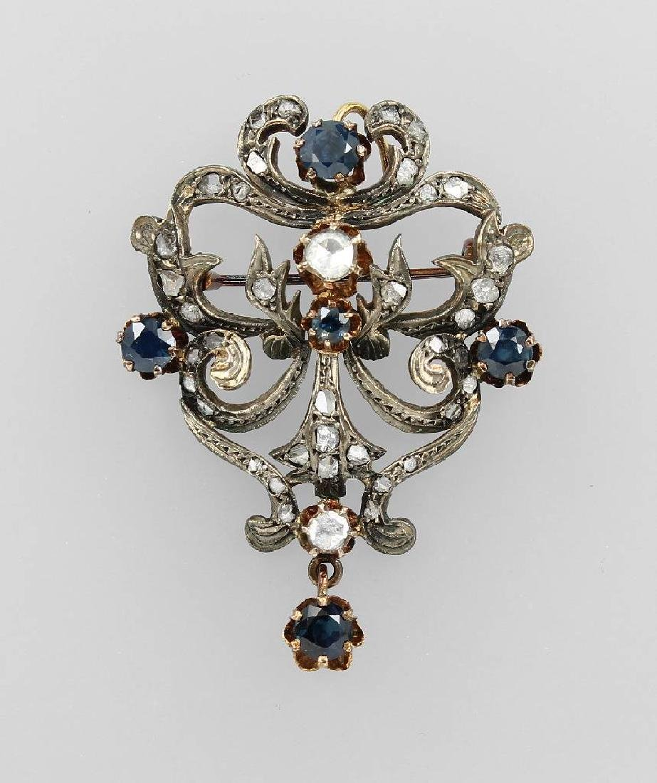 Brooch with sapphires and diamonds, approx. 1880s