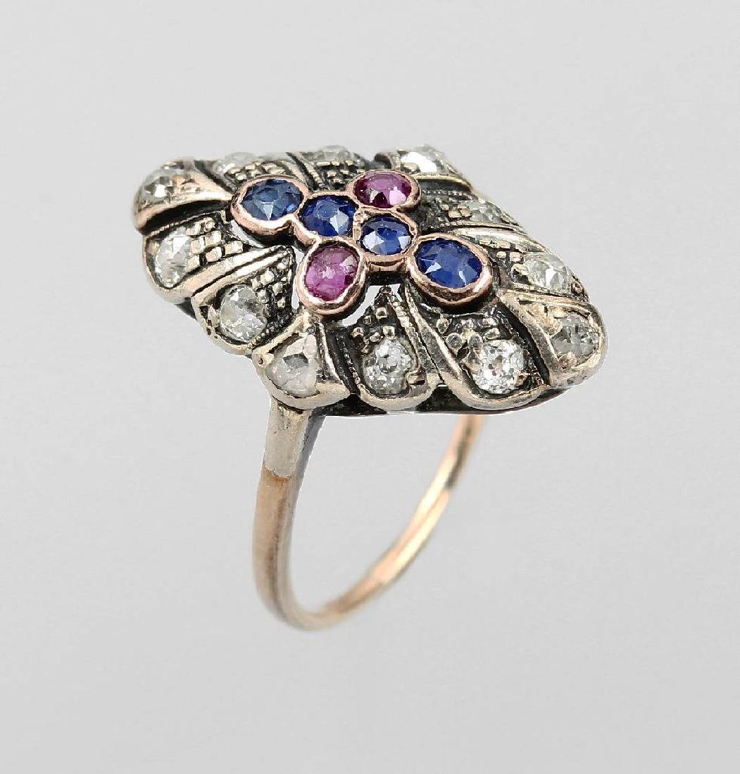 14 kt gold marquise ring with diamonds and coloured