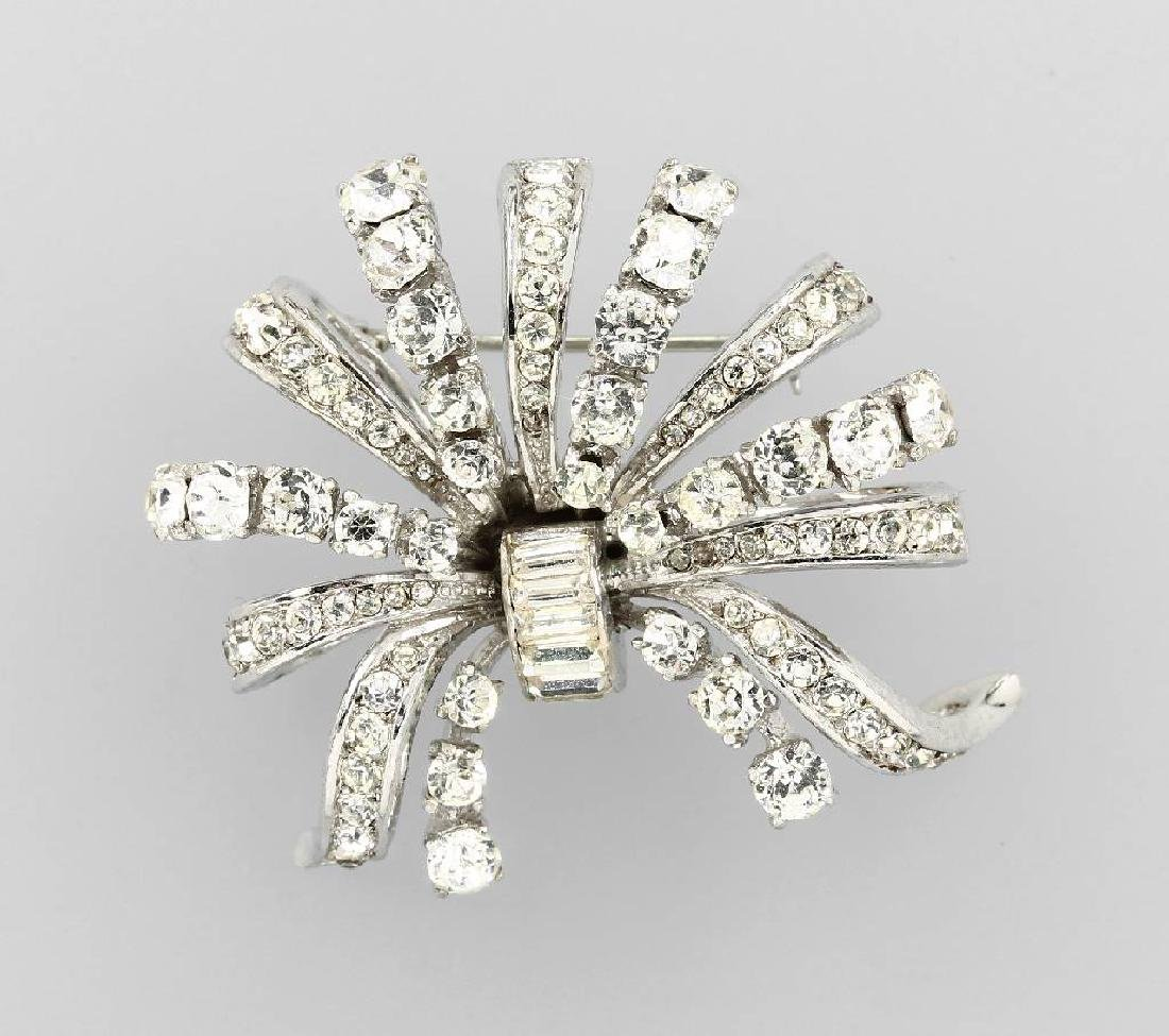 Brooch with rhine stones, Sterling, West Germany 1960s
