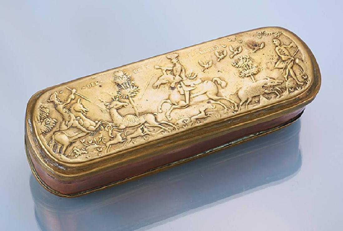 Tobacco box, approx. 1760, brass and copper
