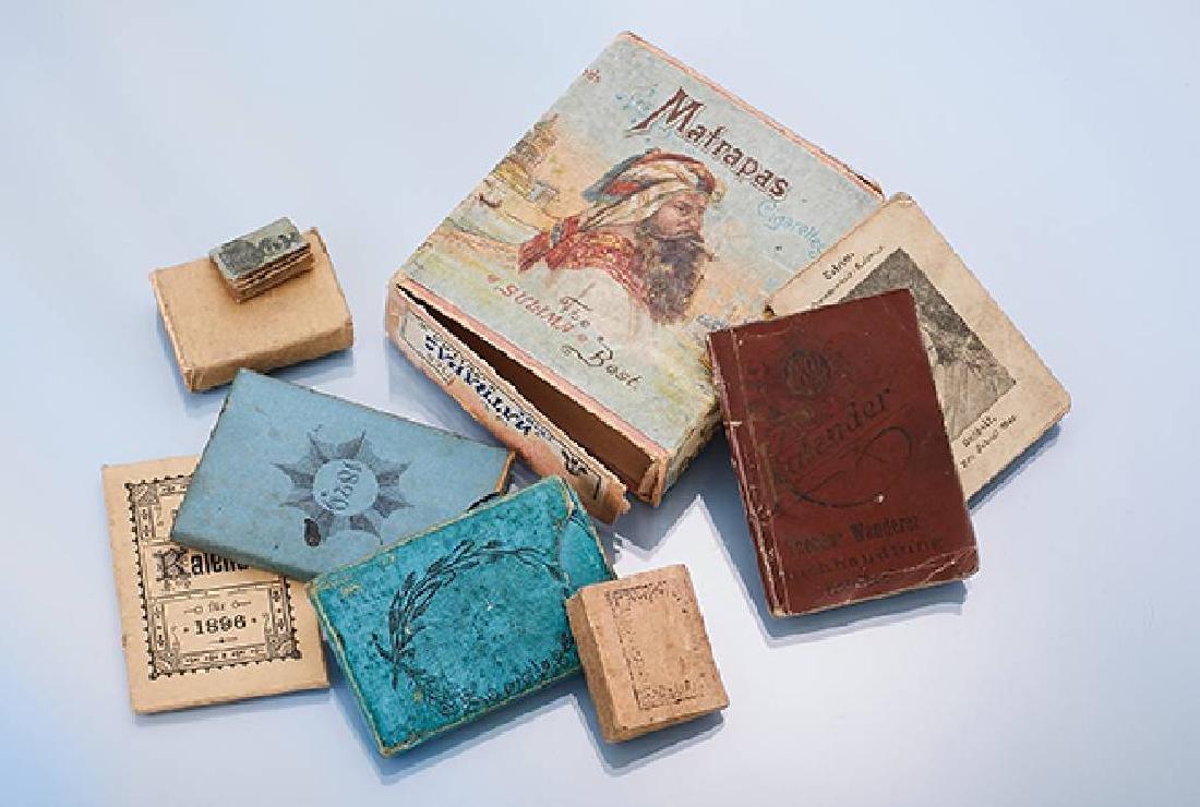 8-piece antique calendar/card game lot