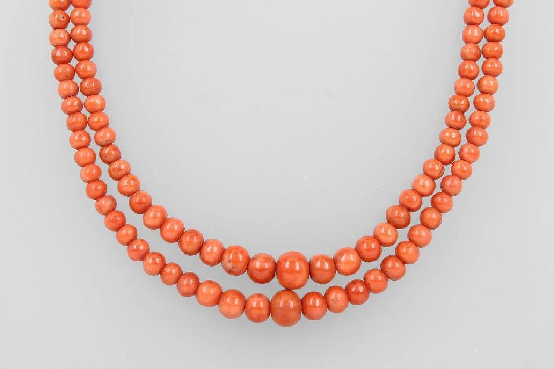 2-row coral necklace approx. 1890