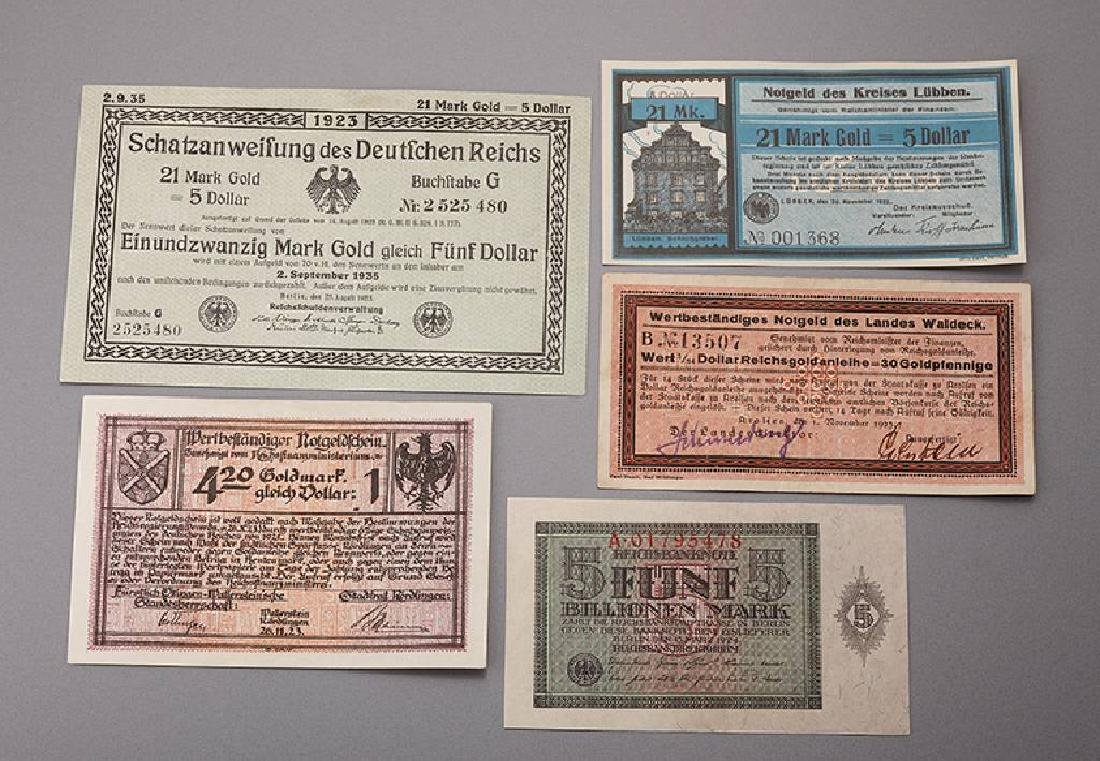 Lot 9 banknotes, German Reich