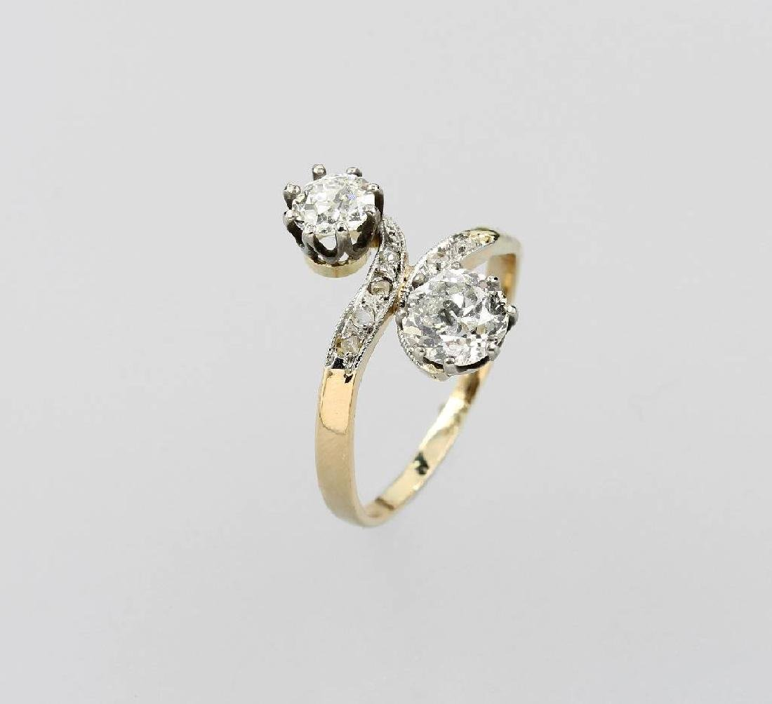 Ring with diamonds, YG 585/000 and electron