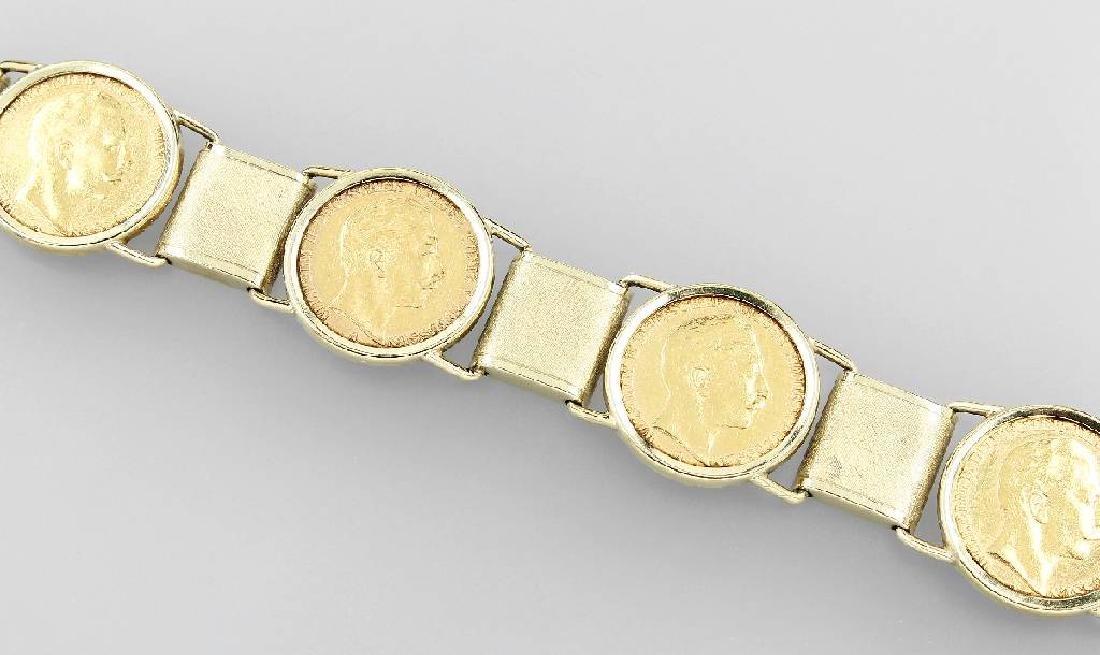 14 kt gold bracelet with gold coins