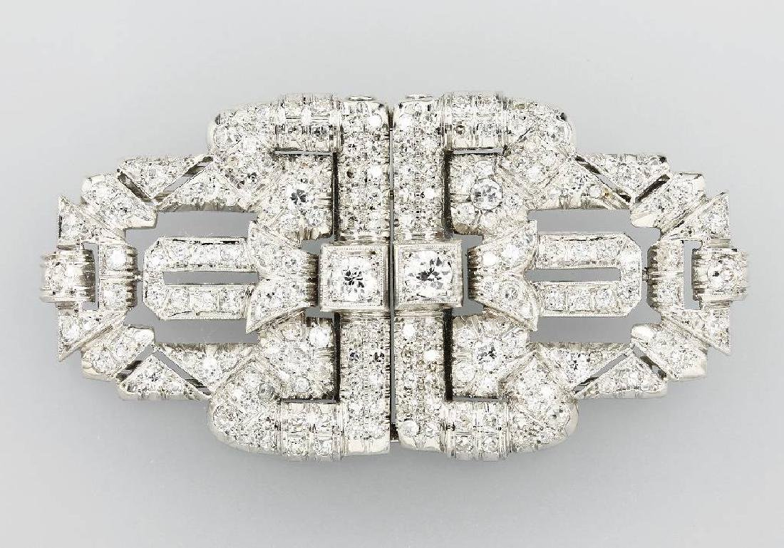 18 kt gold Art-Deco brooch with diamonds