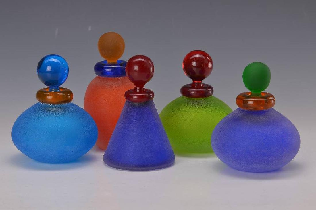 Five Flacons of Murano-glass