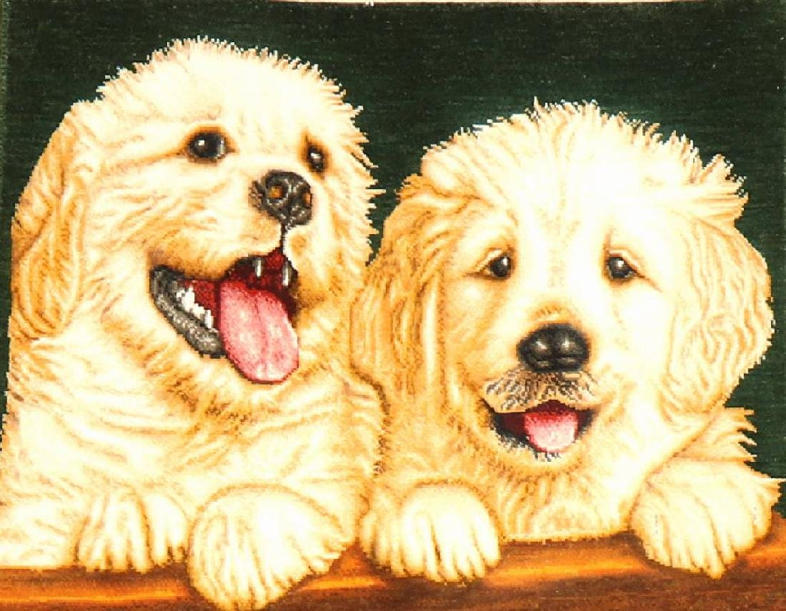 Tabriz (Part-Silk) 'Pictorial Rug' (50 RAJ) 'Dogs',