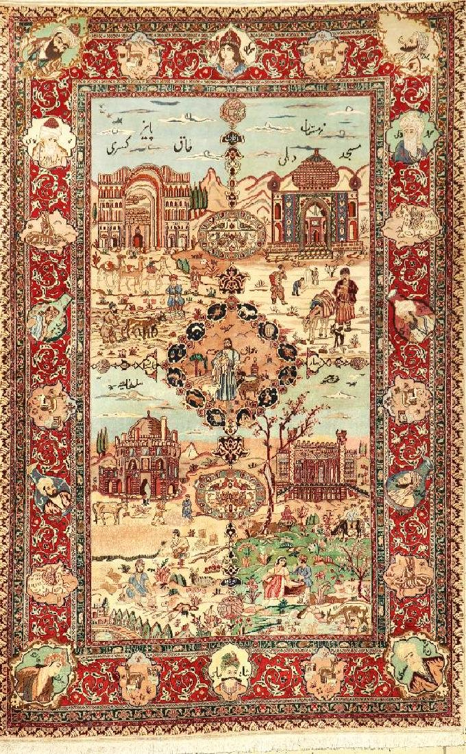Tabriz 'Pictorial Rug' (Four Seasons),