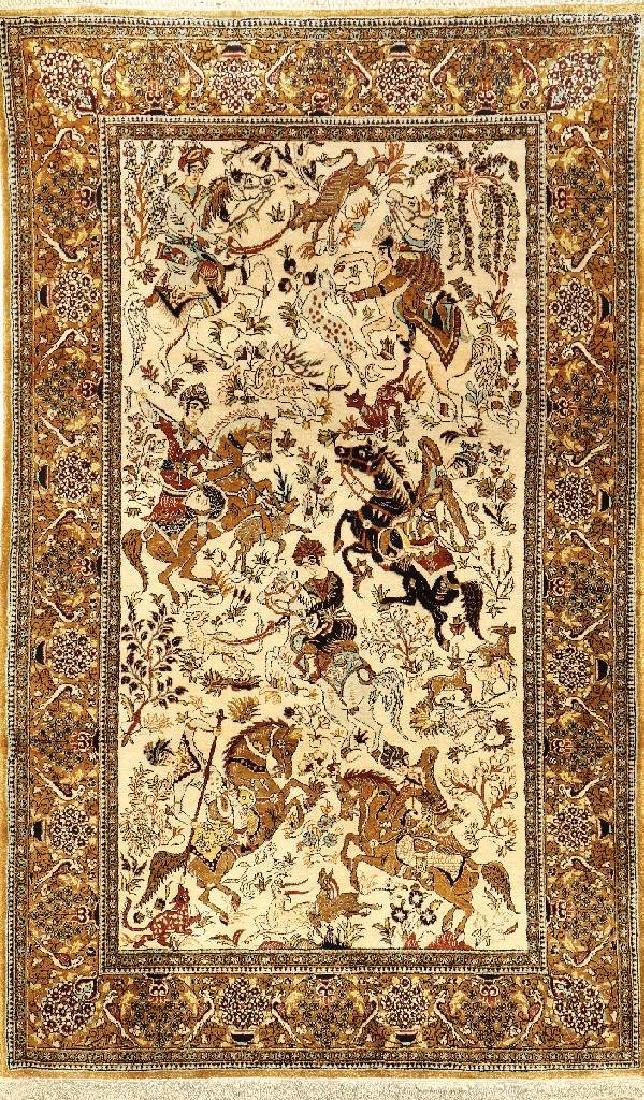Silk Qum Rug (Hunting),