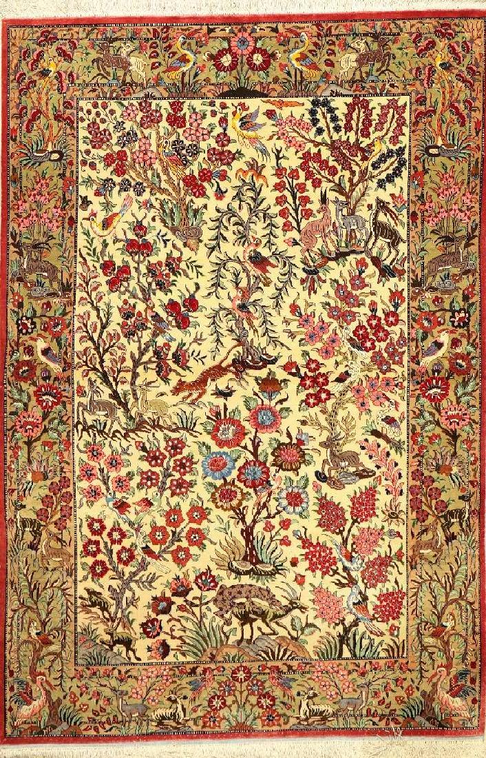 Silk Qum 'Tree Of Life Rug' (Paradise Design),