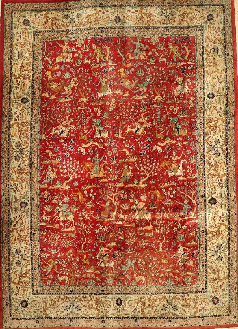 Tabriz 'Narouni' (Signed) Carpet (Hunting Pattern),