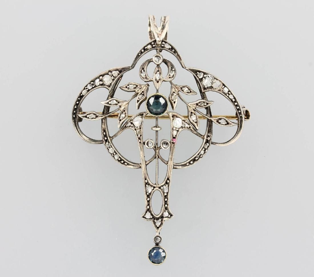 Pendant/Brooch with diamonds and sapphires, german