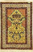 Fine Yellow Silk & Metal-Thread Hereke Rug (Signed),