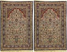 A Pair Of Fine Silk Tabriz Rugs (Paradise-Vase Design),