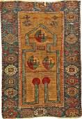 Unusual Camel Wool Konya Prayer Rug Keyhole