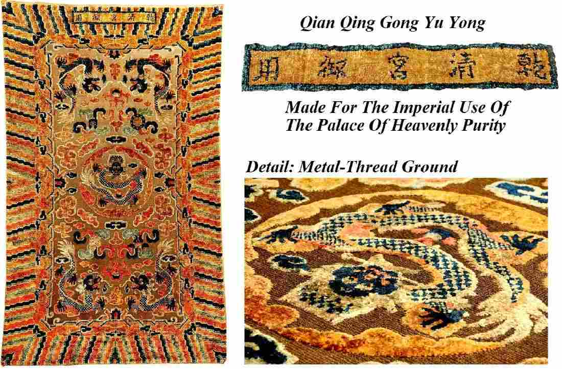 Imperial & Important Chinese Silk & Gold Metal-Thread
