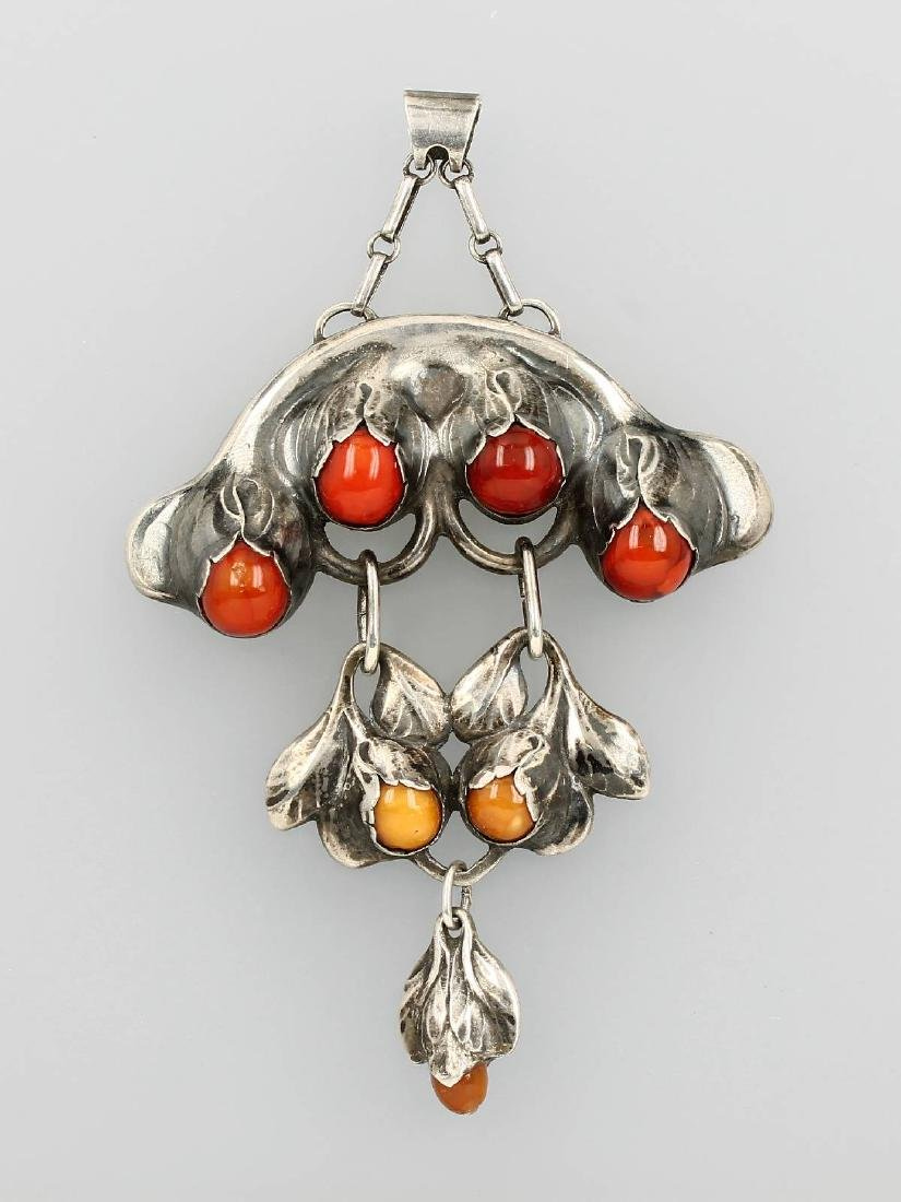 Amber pendant, Evald Nielsen, silver 830