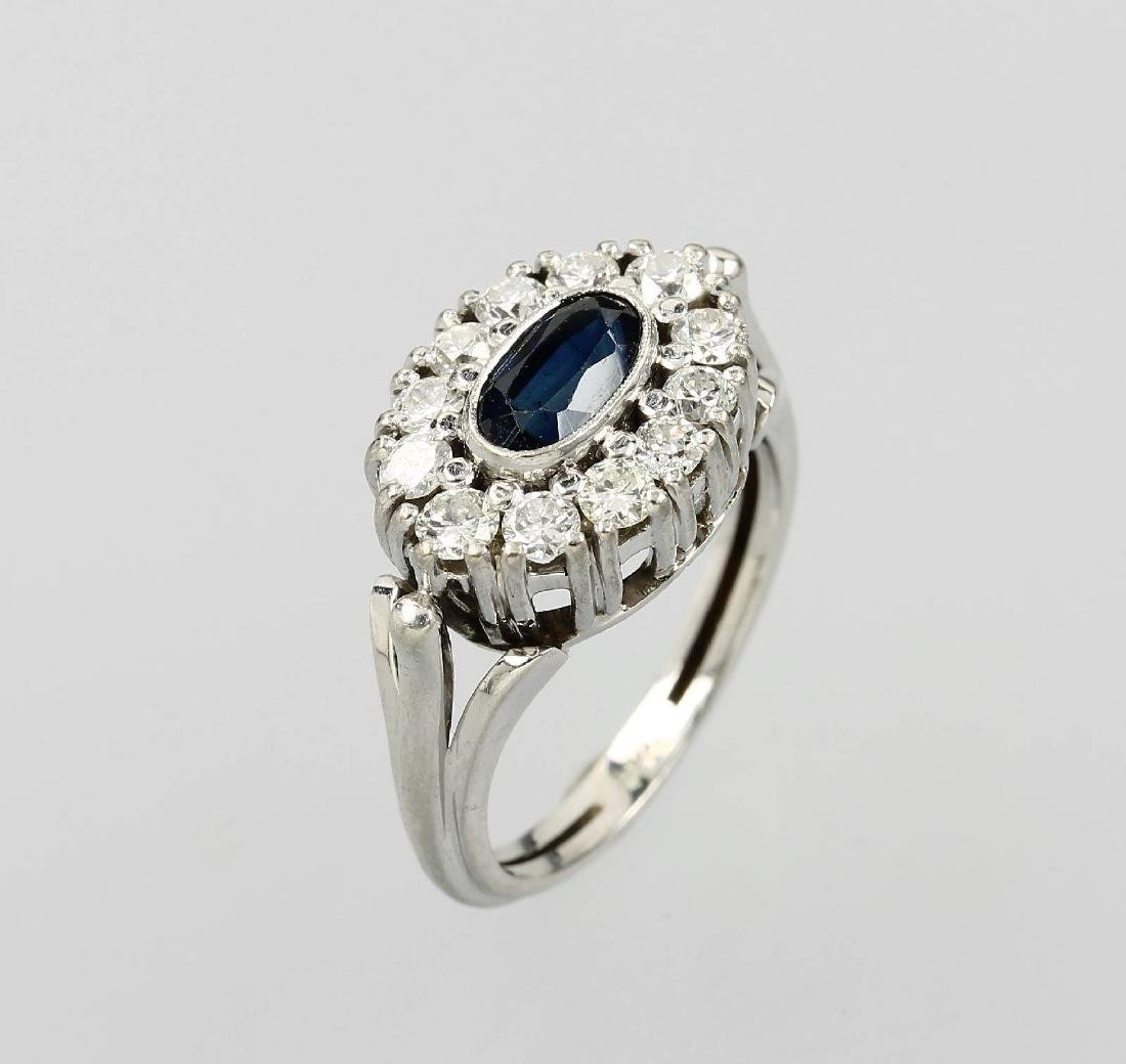 14 kt gold ring with brilliants and sapphire