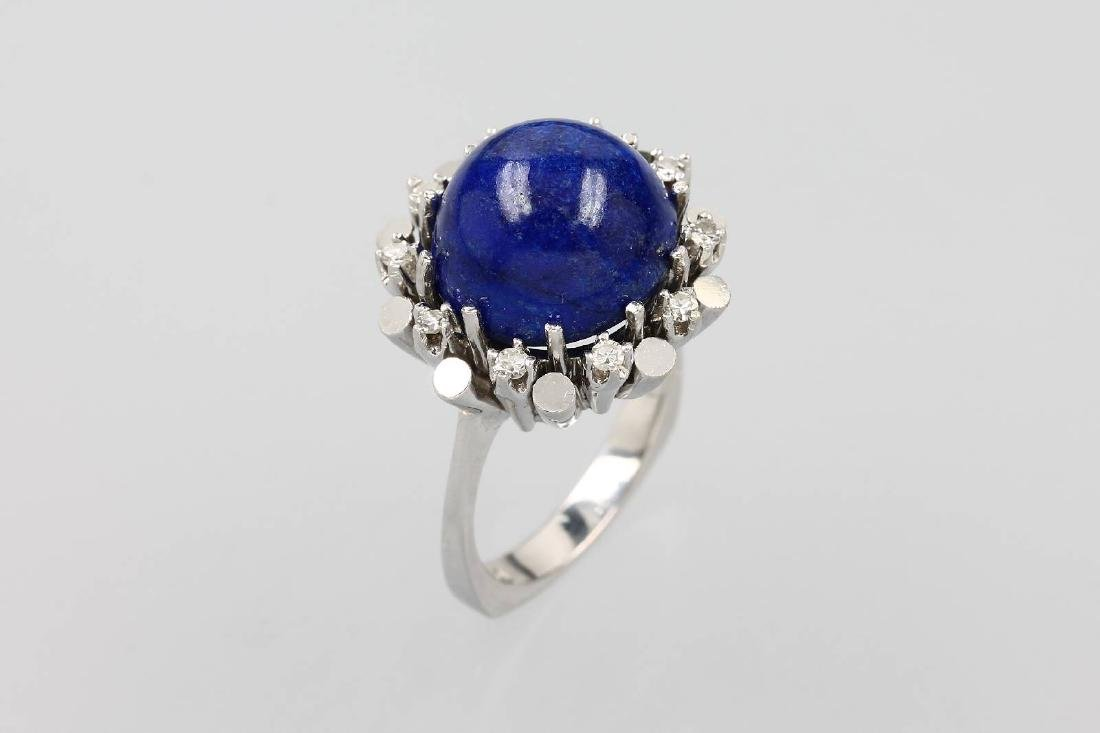 14 kt gold ring with lapis lazuli and diamonds