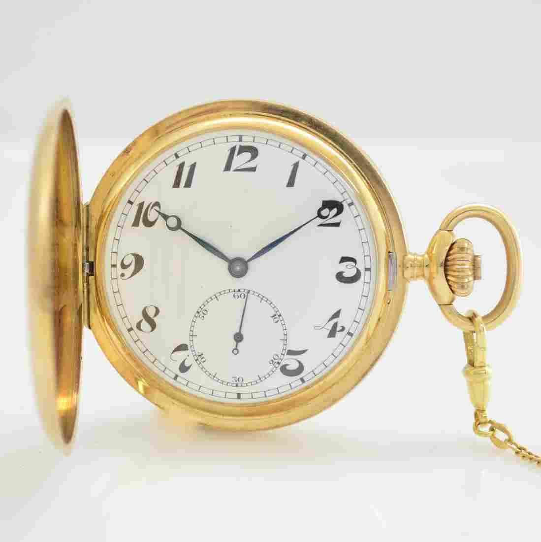 MOERIS 14k yellow gold hunting cased pocket watch
