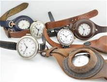 Set of 5 early wristwatches & 1 pocket watch