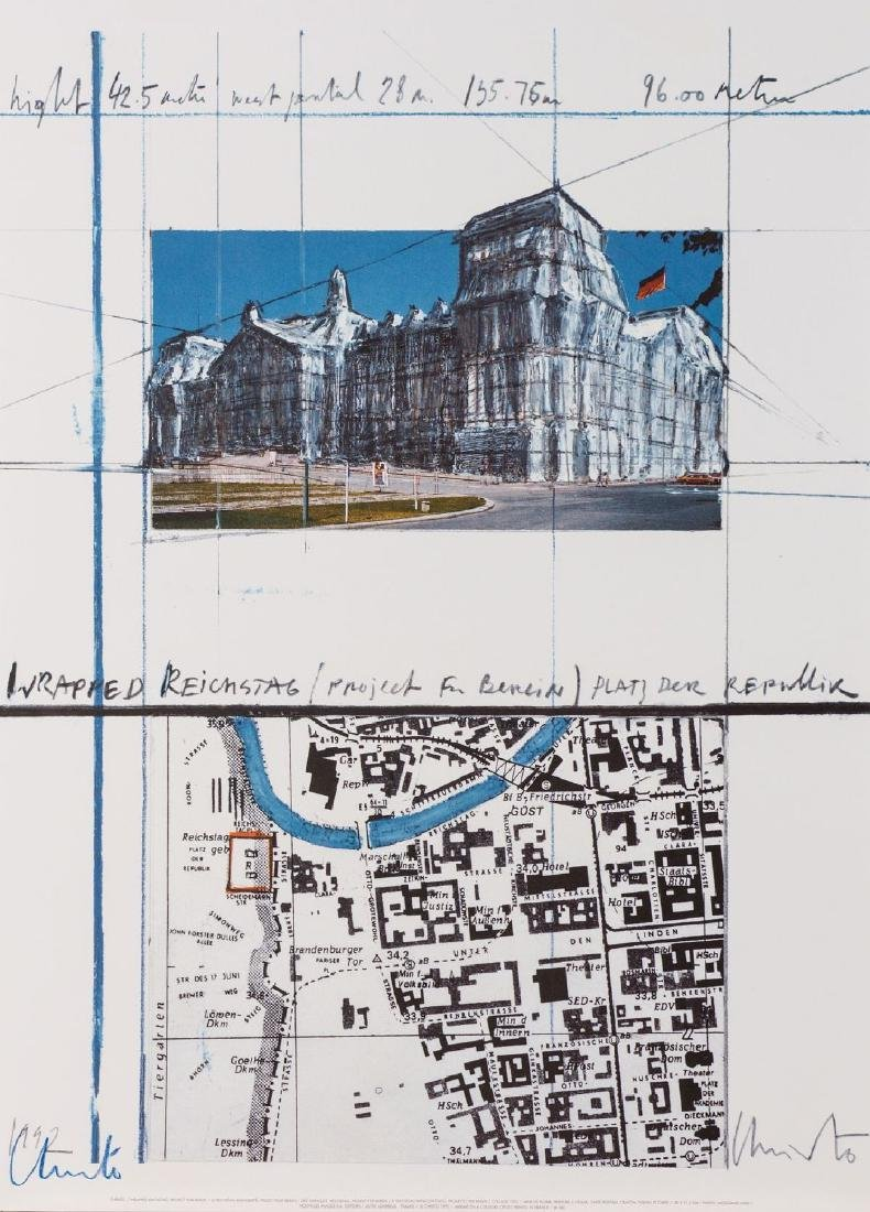 Christo, born 1935, Wrapped Reichstag, color offset, in