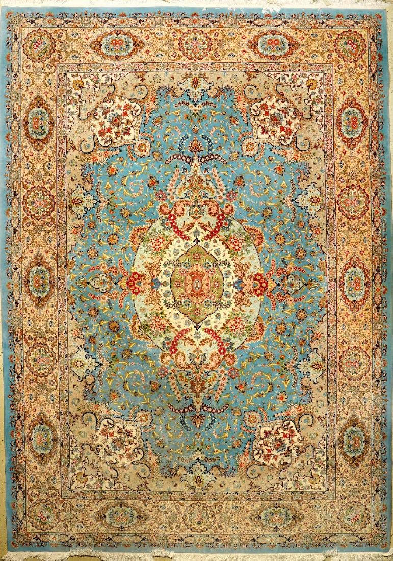 Fine Sky-Blue Mashad 'Part-Silk' Carpet,