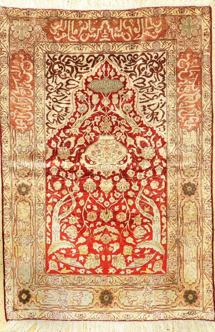 Silk & Metal-Thread Kaisery Rug,