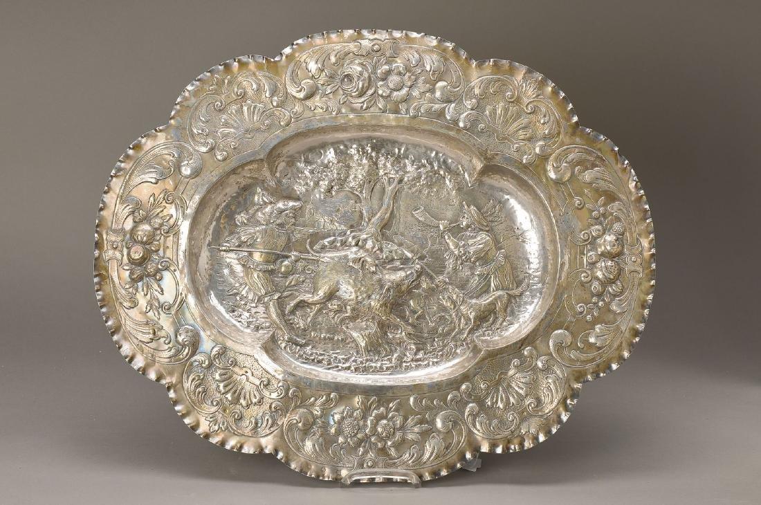Large silver pompous bowl