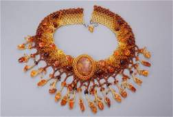 Unusual necklace with amber