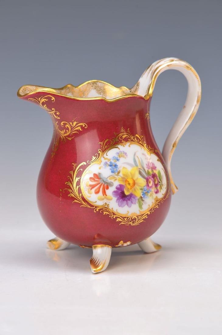 milk jug, Meissen, around 1880, dark red ground