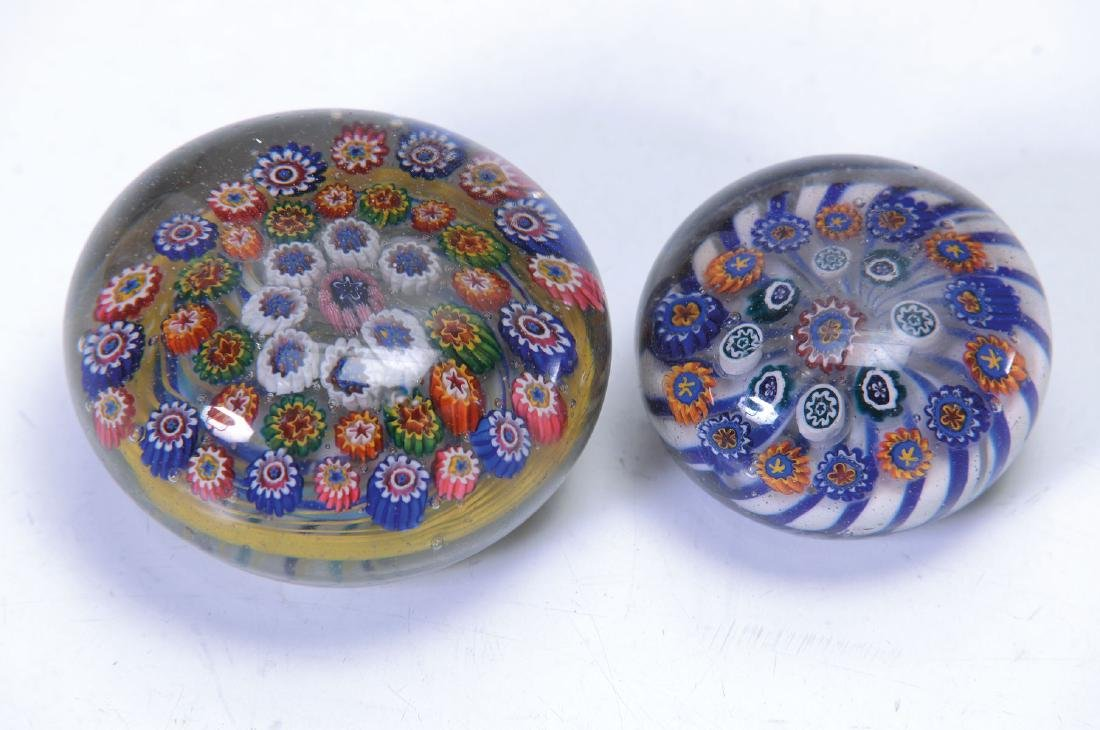 two paperweights, Bohemia, around 1850-60, colorless