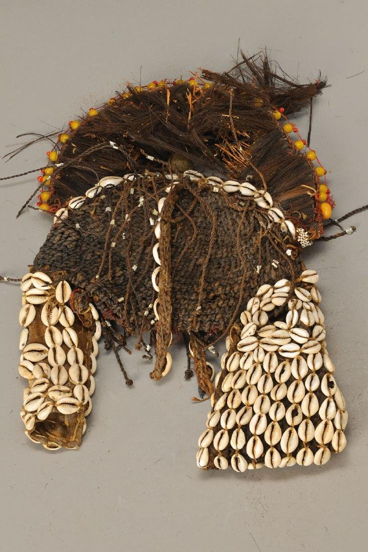 Head Mask, Sudan, around 1900, fabric and hairwith