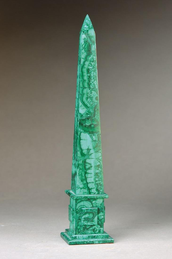Obelisk, latter, malachite, approx. 29.5x6x6