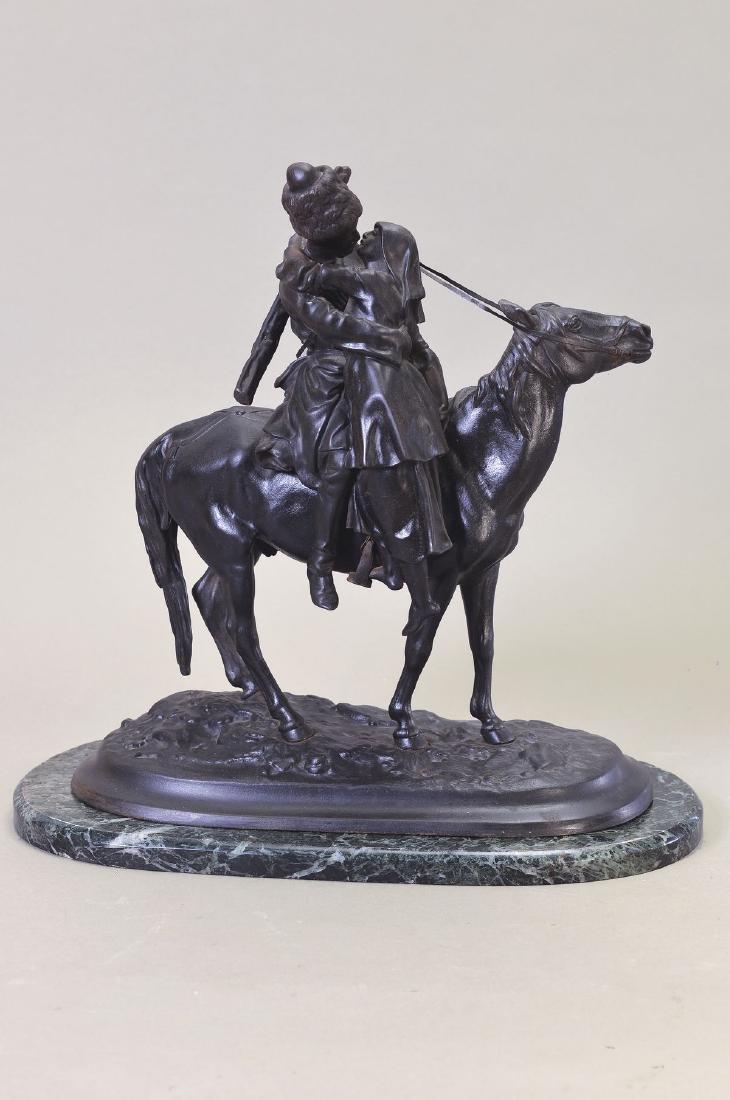 Sculpture, Russia, around 1900, Cossack sayinggoodbye