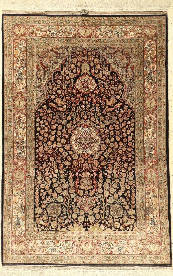 Fine Chinese Silk & Metal-Thread Hereke Rug,