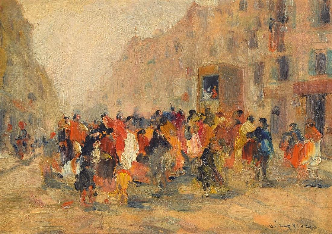 Francesco di Marino, 1892-1954, People on the street in