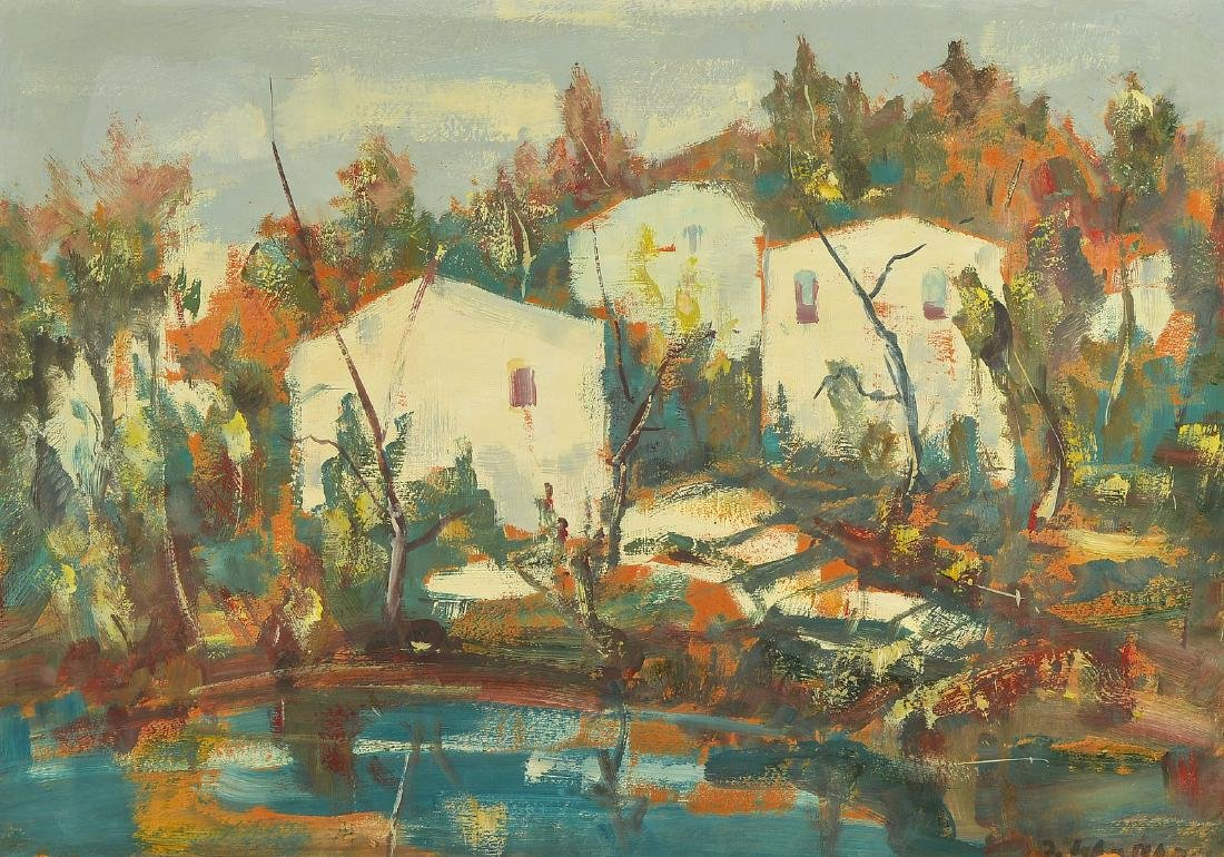 Unidentified artist, mid-20th century, houses behind