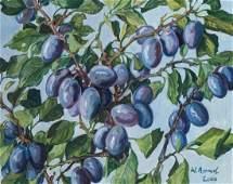 Werner Brand, born 1933 Löbau, plums, oil/ masonite